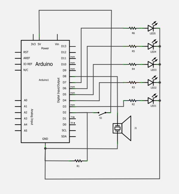 Schema circuito canzoni natazione con Arduino